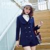 เสื้อโค้ทขนสัตว์ไซส์ใหญ่ สีน้ำเงิน สไตล์อังกฤษ (XL,2XL,3XL,4XL) E3307