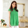 เสื้อชีฟองไซส์ใหญ่ สีเขียว ปกบัว ช่วงไหล่ผ้าลูกไม้ แขนสั้นในตัว (XL,2XL,3XL)