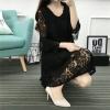 +พร้อมส่ง+ มินิเดรสผ้าลูกไม้สวยประดับมุก สีดำ (XL)