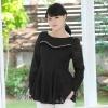 เสื้อชีฟองไซส์ใหญ่สีดำ ติดไข่มุกสวยหรู (L,XL) C-98406