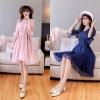 เดรสชีฟองสวยหวานสำหรับสาวอวบ สีม่วงอมชมพู/สีน้ำเงิน (M,L,XL,2XL,3XL) JK-9897