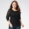 เสื้อผ้าลูกไม้แขนยาวไซส์ใหญ่สไตล์เกาหลี สีขาว/สีดำ (XL,2XL,3XL,4XL) E3079