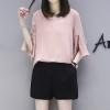 ชุดเซ็ทสีชมพูไซส์ใหญ่ เสื้อชีฟองสีชมพู คอวี แขนสามส่วนปลายแขนกระดิ่ง+กางเกงขาสั้นสีดำ เอวยางยืด (XL,2XL,3XL,4XL) KJ-8229
