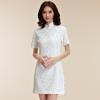 ชุดกี่เพ้าผ้าลูกไม้ไซส์ใหญ่ สไตล์แฟชั่น China Daily แขนสั้น สีขาว/สีดำ (XL,2XL,3XL)