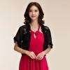 เสื้อคลุมชีฟองผ้ากันแดด ไหล่ผ้าลูกไม้ เอวลอย สีขาว/สีดำ (XL,2XL,3XL) JK-9754
