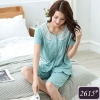 ชุดนอนผ้าฝ้ายสีเขียวลายจุด เสื้อแขนสั้นติดกระดุม ปกลูกไม้ลายฉลุ ชายระบาย+กางเกงขาสามส่วน (M,L,XL,3XL,4XL) #2615