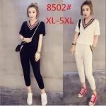 ชุดเซ็ท 2 ชิ้น เสื้อคอวี+กางเกง สีขาว/สีดำ (L,XL,2XL,3XL)