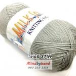 ไหมพรม Milk Soly4ply สีพื้น รหัสสี 2759 สีเทา