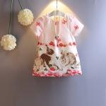 เดรสผ้าพิมพ์ลายทรงเอ ลายกระต่ายน้อยในสวนดอกไม้
