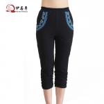 กางเกงcropped ผ้ายืด เอวยางยืด ปักลายสวย สีน้ำเงิน/สีดำ 3XL 4XL 5XL 6XL