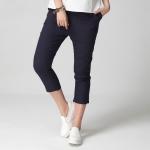 กางเกงขาสี่ส่วน สีกรมท่า เอวยืด มีกระเป๋า (2XL,3XL,4XL,5XL)