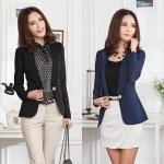เสื้อสูทแฟชั่นไซส์ใหญ่ สีดำ/สีน้ำเงิน (XL,2XL)
