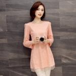 ++พร้อมส่ง++ เสื้อตัวยาว สีชมพู ผ้าลูกไม้ลายฉลุไซส์ใหญ่ (5XL)