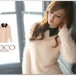 ♡♡Pre Order♡♡ เสื้อกันหนาว ผ้า mohair เนื้อนิ่มแขนยาว ตัวชุดสีชมพูอ่อนๆ ตัดกับคอปกสีดำ สวย เก๋ น่ารักมากๆ ค่ะ
