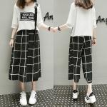 ++พร้อมส่ง++ ชุดเซ็ท 2 ชิ้น เสื้อโอเว่อร์ไซส์สีขาว+กางเกงขากว้างลายขาวดำ (5XL)