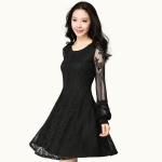 ชุดเดรสผ้าลูกไม้สีดำแขนยาวไซส์ใหญ่ (XL,2XL,3XL,4XL)