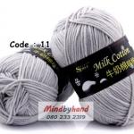 ไหมพรม Milk Cotton รหัสสี 11 สี Light Gray