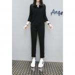 {พร้อมส่ง} ชุดเซ็ทสีดำ 2 ชิ้น เสื้อแขนสี่ส่วน+กางเกงขายาว (4XL)