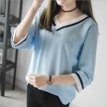 ++พร้อมส่ง++ เสื้อชีฟองคอวีสีฟ้า (XL,2XL)