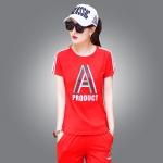 ♥พร้อมส่ง♥ ชุดกีฬาไซส์ใหญ่ เสื้อยืดแขนสั้น+กางเกงสามส่วน สีแดง (5XL)