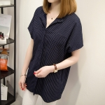 เสื้อเชิ้ตผ้าคอตตอนสีกรมท่าลายทางไซส์ใหญ่ (XL,2XL,3XL,4XL,5XL)