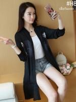 เสื้อกันแดด เสื้อกันUV ตัวยาวไซส์ใหญ่ สีดำ (XL,2XL,3XL,4XL,5XL)