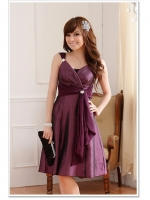 ♥พร้อมส่ง♥ ชุดราตรีงดงาม สีม่วง ไซส์ XL 3XL