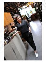 [PRE-ORDER] ชุดเซ็ท 2 ชิ้น เสื้อ+กางเกงขายาว สีดำ (XL,2XL,3XL,4XL)