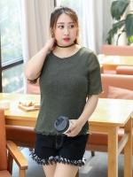 เสื้อยืดสีเขียว แขนสั้น (XL,2XL,3XL)