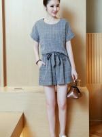 [PRE-ORDER] ชุดเซ็ท 2 ชิ้น เสื้อ+กางเกงขาสั้น สีเทาลายตาราง (XL,2XL,3XL,4XL)