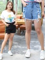 กางเกงยีนส์ขาสั้นไซส์ใหญ่ สีดำ/สีฟ้า (XL,2XL,3XL,4XL)