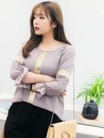 เสื้อชีฟองจีบย่น สีม่วงกะปิ สวยหวานติดกลิตเตอร์สีทอง แขนยาวปลายแขนตุ๊กตา (XL,4XL)