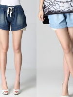 กางเกงยีนส์ขาสั้นไซส์ใหญ่ เอวรูดผูกเชือก แต่งปลายขาด้วยผ้าลูกไม้ สีฟ้า/สีฟ้าเข้ม (2XL,3XL,4XL,5XL)