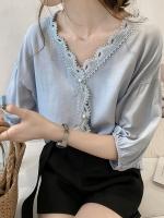 เสื้อชีฟองแฟชั่นไซส์ใหญ่ สีขาว/สีแอปริคอท/สีชมพู/สีน้ำเงิน คอวีขลิบลูกไม้สวย แขนสามส่วน (M,L,XL,2XL,3XL,4XL) G8935