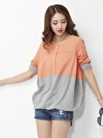 เสื้อทีเชิ้ตบาง สีส้มอมชมพู XL 2XL 3XL 4XL 5XL