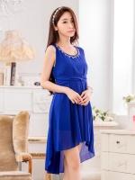 ชุดราตรีชีฟองไซส์ใหญ่ คอเสื้อแต่งเพชร สีน้ำเงิน (XL,2XL,3XL)