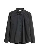 เสื้อเชิ้ตผ้าฝ้ายแขนยาว สีดำ ปกเชิ้ต (ซ่อน)กระดุมหน้า (US14,US20)