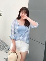 เสื้อแฟชั่น 2 ชิ้น เสื้อสีฟ้าลายสก๊อต+เสื้อสายเดียว (XL,2XL,3XL,4XL) C8657