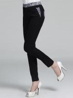 กางเกงขายาวทรงดินสอสีดำ ขอบเอว+กระเป๋าแต่งผ้าลายดอก เอวยางยืด (XL,2XL,3XL,4XL)