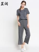 ชุดเซ็ท 2 ชิ้น เสื้อ+กางเกงขายาว สีเทา (L,XL,2XL,3XL,4XL,5XL) ZR-5913
