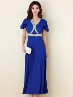 ♥พร้อมส่ง♥ ชุดราตรียาวสวยสง่างาม สีน้ำเงิน ติดเพชรสวยไฮโซ 3XL (อก 46)