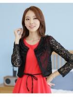 เสื้อคลุมไหล่ผ้าลูกไม้ฉลุ แขนยาว สีดำ/สีแอปริคอท (XL,2XL,3XL,4XL)