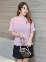 เสื้อยืดสีชมพู แขนสั้น (XL,2XL,3XL)