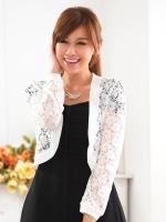 เสื้อคลุมไหล่ไซส์ใหญ่ ผ้าลูกไม้ สีดำ/สีขาว แขนยาว (XL,2XL,3XL,4XL)