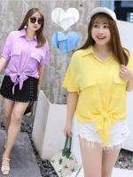 เสื้อเชิ้ตผ้าฝ้ายไซส์ใหญ่ สีขาว/สีม่วง/สีฟ้า/สีเหลือง (XL,2XL,3XL,4XL) YS303