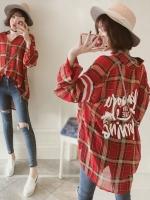เสื้อเชิ้ตลายสก๊อตสีแดงแขนยาว (XL,2XL,3XL,4XL) NV-3186