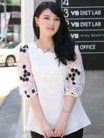 เสื้อชีฟองไซส์ใหญ่ สีขาวปักลาย แขนชีฟองแก้วลายดอกไม้ (L,XL,2XL,3XL,4XL,5XL)