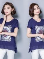 เสื้อชีฟองสีน้ำเงินแขนในตัว สกรีนรูปด้านหน้าเสื้อ (M,L,XL,2XL,3XL)