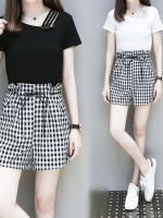 ชุดเซ็ทไซส์ใหญ่ 2 ชิ้น เสื้อผ้าฝ้ายยืดแต่งไหล่เก๋ ๆ + กางเกงขาสั้นลายสก๊อต (XL,2XL,3XL,4XL,5XL)