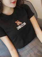 เสื้อยืดแฟชั่นตัวเล็กสีพื้น ปักลายหมีน่ารักๆ สีดำ (7141C)